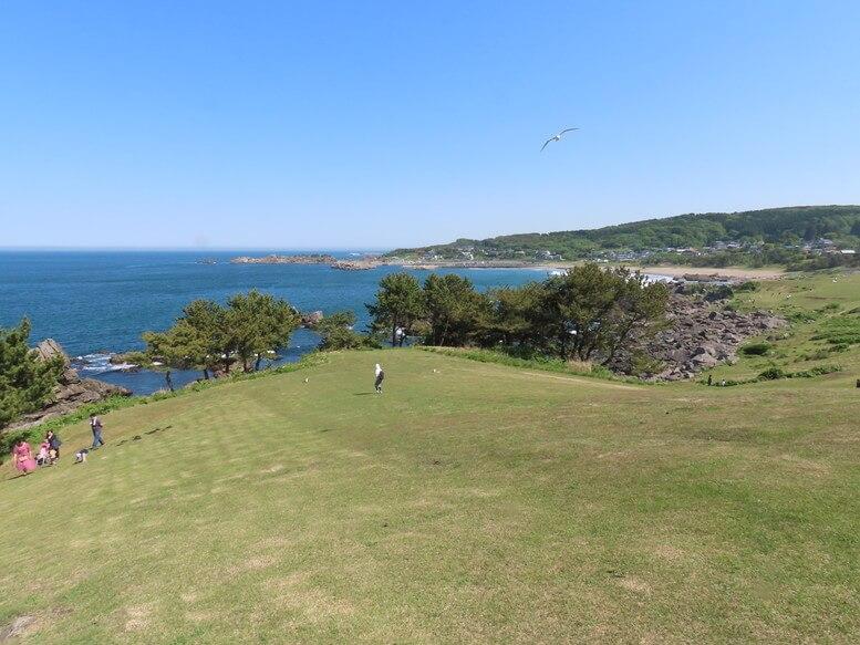 青森県八戸市 三陸ジオパーク みちのく潮風トレイル 種差海岸 種差天然芝生地